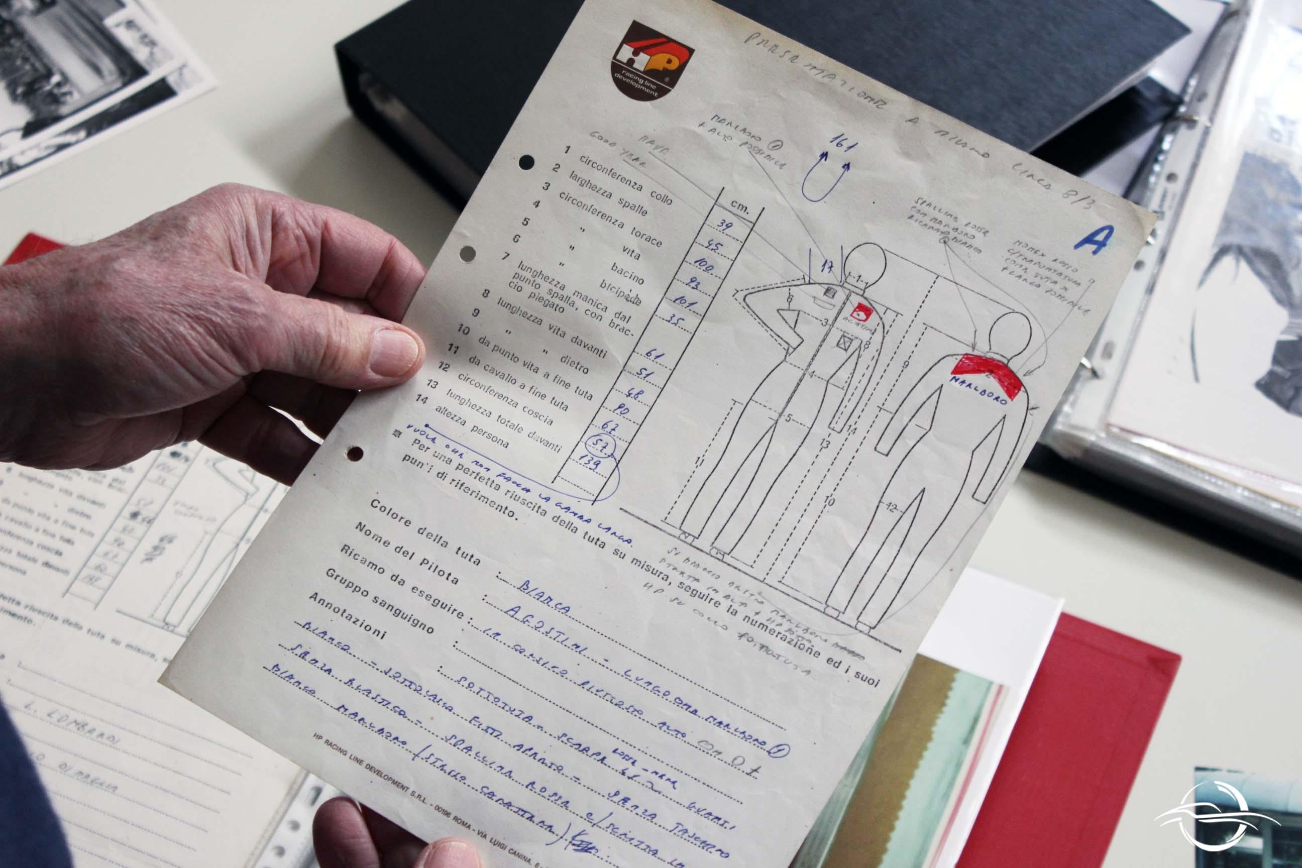 scheda della tuta di Giacomo Agostini