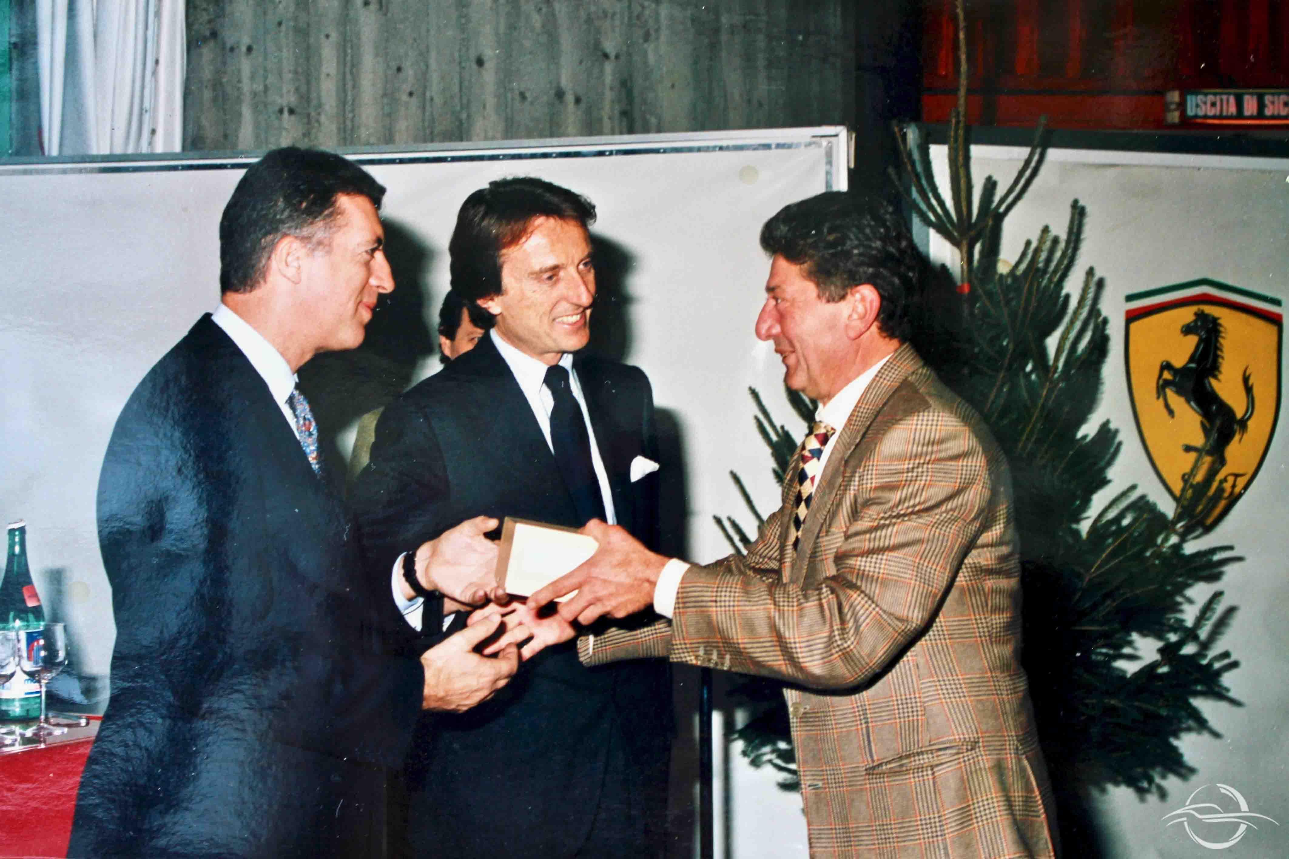 From the left Piero Ferrari, Luca Cordero di Montezemolo and Oscar Scaglietti